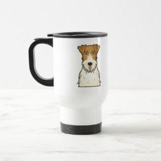 Dibujo animado del fox terrier del alambre taza de viaje