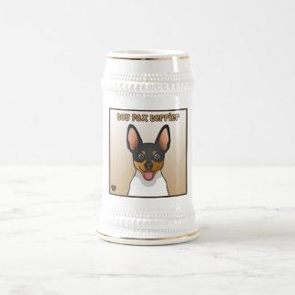 Dibujo animado del fox terrier del juguete jarra de cerveza
