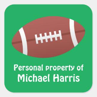 Dibujo animado del fútbol y espacio en blanco calcomanía cuadrada personalizada