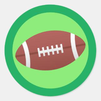 Dibujo animado del fútbol y espacio en blanco etiqueta redonda