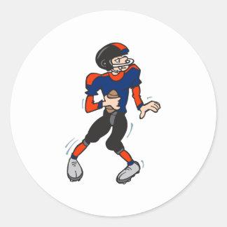 dibujo animado del futbolista del estratega pegatinas redondas