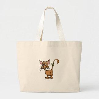 Dibujo animado del gato callejero en los productos bolsa tela grande