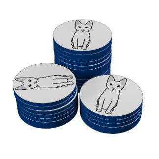 Dibujo animado del gato de Khao Manee Juego De Fichas De Póquer
