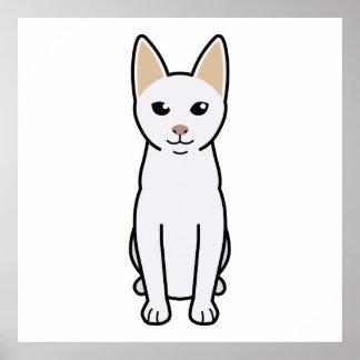 Dibujo animado del gato de Khao Manee Posters
