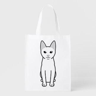 Dibujo animado del gato de Khao Manee Bolsas Para La Compra