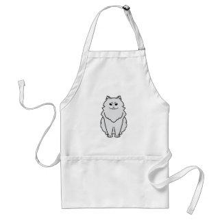 Dibujo animado del gato de la chinchilla delantal