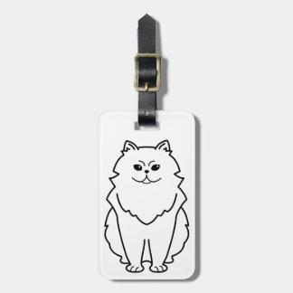 Dibujo animado del gato de la chinchilla etiqueta para maleta