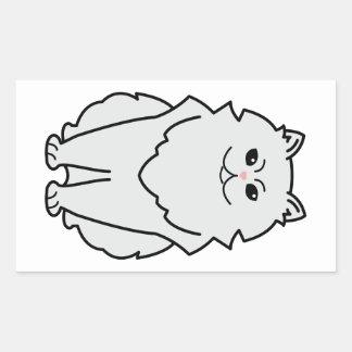 Dibujo animado del gato de la chinchilla rectangular pegatinas
