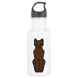 Dibujo animado del gato de La Habana Brown Botella De Agua De Acero Inoxidable