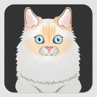Dibujo animado del gato de Ragdoll (Llama-Punto) Pegatina Cuadrada