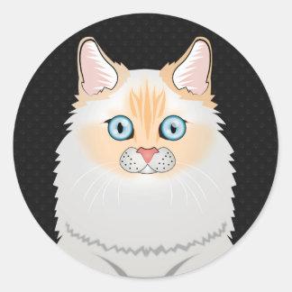 Dibujo animado del gato de Ragdoll (Llama-Punto) Pegatina Redonda