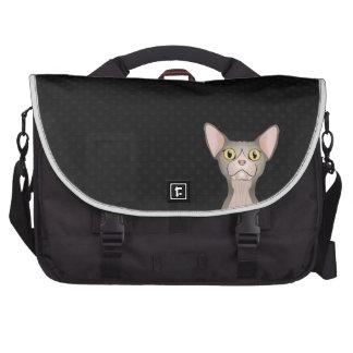 Dibujo animado del gato de Sphynx (bicolor) Bolsas Para Ordenador