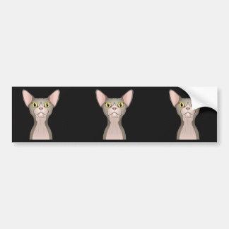 Dibujo animado del gato de Sphynx bicolor Etiqueta De Parachoque