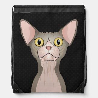 Dibujo animado del gato de Sphynx (bicolor) Mochilas