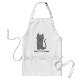 Dibujo animado del gato del gris ahumado delantales