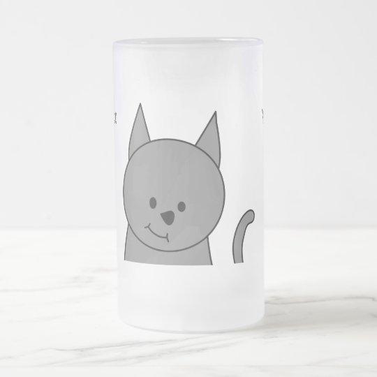 Dibujo animado del gato del gris ahumado jarra de cerveza esmerilada