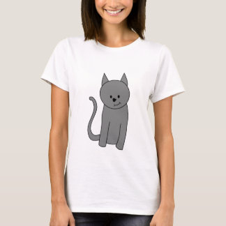 Dibujo animado del gato del gris ahumado playera