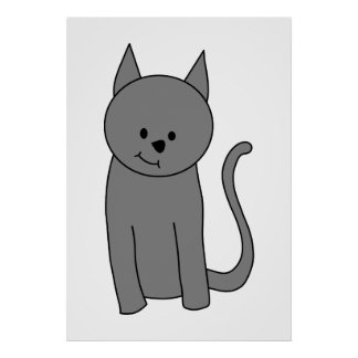 Dibujo animado del gato del gris ahumado póster