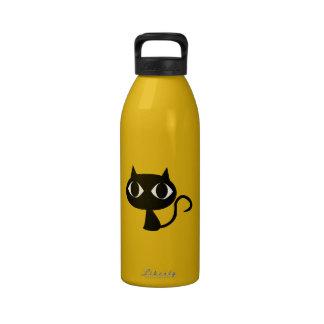 Dibujo animado del gato negro botellas de agua reutilizables
