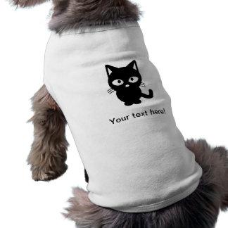 Dibujo animado del gato negro playera sin mangas para perro
