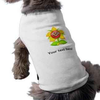 Dibujo animado del girasol playera sin mangas para perro