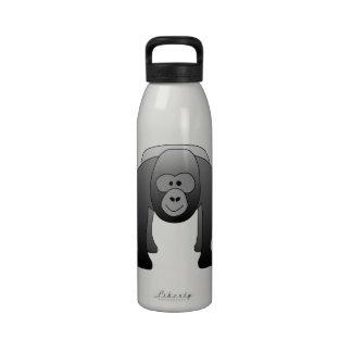 Dibujo animado del gorila del Silverback Botella De Agua