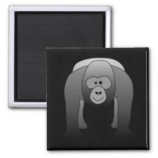Dibujo animado del gorila del Silverback Imán Cuadrado