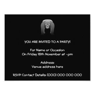 """Dibujo animado del gorila del Silverback Invitación 4.25"""" X 5.5"""""""