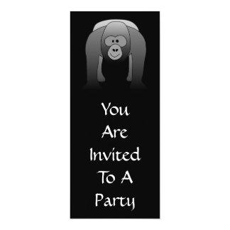 """Dibujo animado del gorila del Silverback Invitación 4"""" X 9.25"""""""