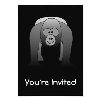"""Dibujo animado del gorila del Silverback Invitación 5"""" X 7"""""""