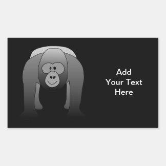 Dibujo animado del gorila del Silverback Pegatina Rectangular