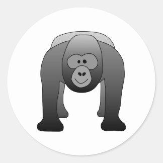 Dibujo animado del gorila del Silverback Pegatina Redonda