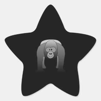 Dibujo animado del gorila del Silverback Pegatina Forma De Estrella