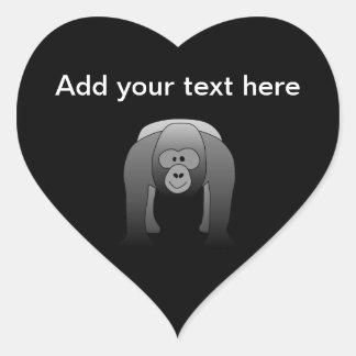 Dibujo animado del gorila del Silverback Pegatina En Forma De Corazón