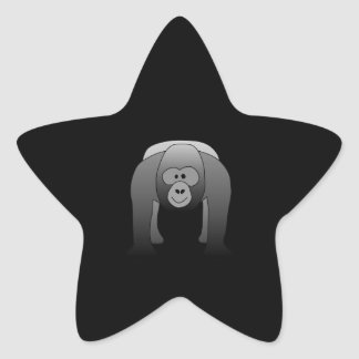 Dibujo animado del gorila del Silverback Pegatina En Forma De Estrella