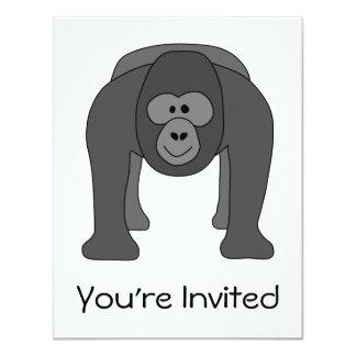"Dibujo animado del gorila invitación 4.25"" x 5.5"""