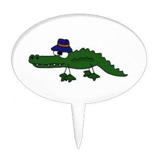 Dibujo animado del gorra de la pesca del cocodrilo decoraciones de tartas