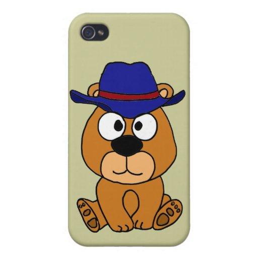 Dibujo animado del gorra de vaquero del oso del CO iPhone 4 Carcasas