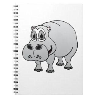 Dibujo animado del gris del hipopótamo notebook