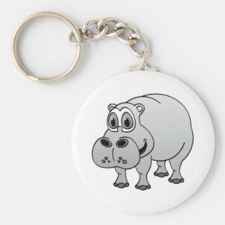 Dibujo animado del gris del hipopótamo llavero redondo tipo pin