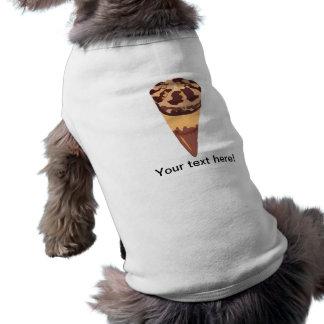 Dibujo animado del helado de chocolate playera sin mangas para perro