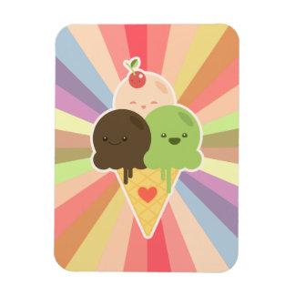 Dibujo animado del helado de Kawaii Imán Flexible