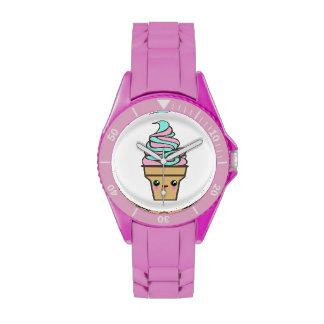 Dibujo animado del helado del delirio de Kawaii Reloj