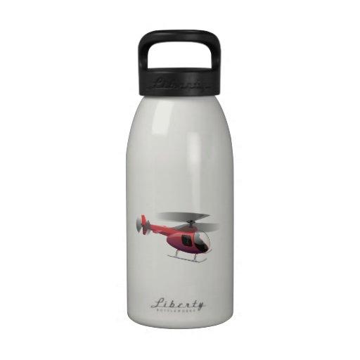 Dibujo animado del helicóptero botellas de beber