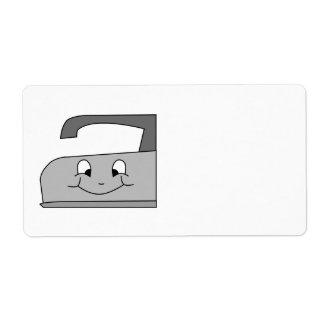 Dibujo animado del hierro Gris y negro en blanco Etiquetas De Envío