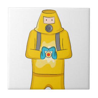 Dibujo animado del hombre de la contención del azulejo cuadrado pequeño