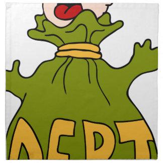 Dibujo animado del hombre de la trampa de la deuda servilletas imprimidas
