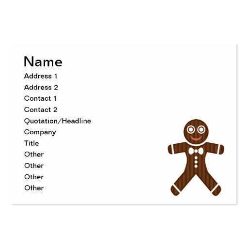 Dibujo animado del hombre de pan de jengibre plantilla de tarjeta de negocio