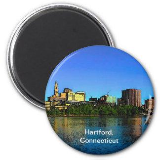 Dibujo animado del horizonte de Hartford Connectic Imán Redondo 5 Cm
