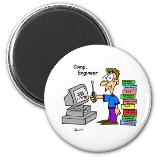 Dibujo animado del ingeniero informático imanes de nevera